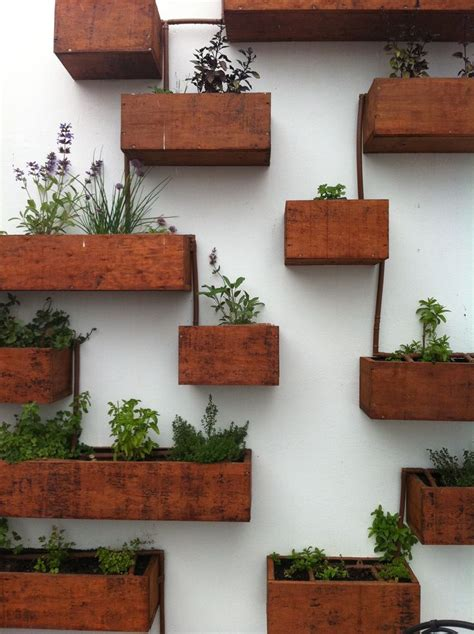 wall herb planter connected wood box floating planters planter pinterest