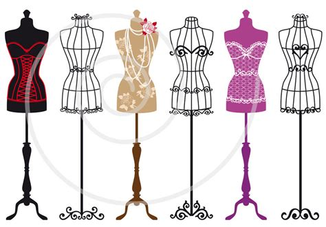 fashion design dress form set of vintage mannequin silhouettes dress by illustree on