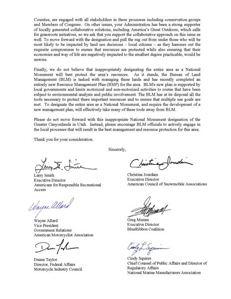 Letter Closing Thank You For Your Consideration Orba Motorized Recreation Groups Send Unified Letter To The President In Response To Oia Request