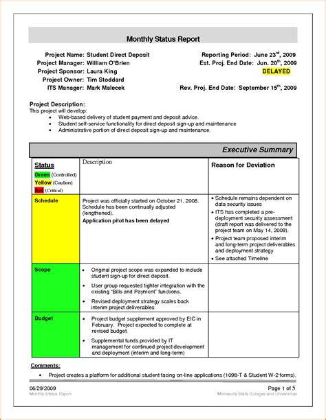 project report template word unique project management monthly