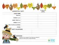 classroom party sign up sheet harvest fall schoolfamily