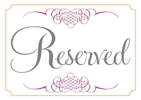 reserved cards for tables templates reserved signs posted by sarahg labels mr and mrs signs