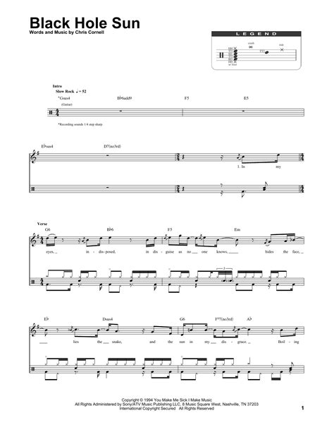 black hole sun chords black hole sun sheet music by soundgarden drums