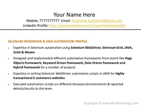 selenium automation testing resume real world selenium resume which gets more interviews