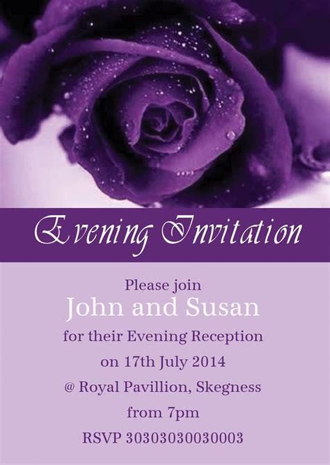 wedding invitations with purple roses purple personalised wedding invitations