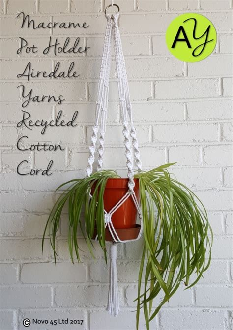 Macrame Pot Holder Pattern - cotton cord plant pot holder easy macrame pattern