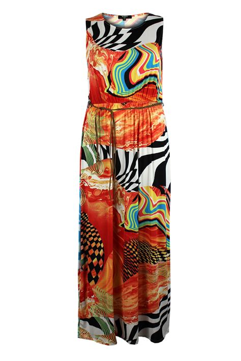 Koko Print By Preview koko geometric abstract print maxi dress with belt