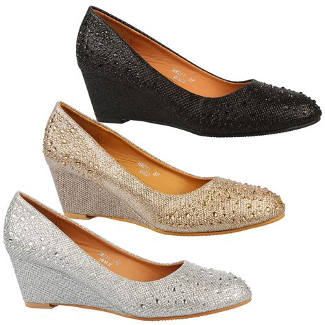 8 Advantages Of Flat Shoes Heels by Debbie Womens Low Mid Wedges Heels Diamante Shimmer Court
