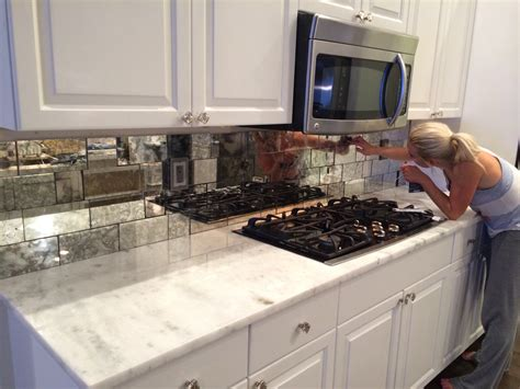 antique mirror tiles backsplash installation french