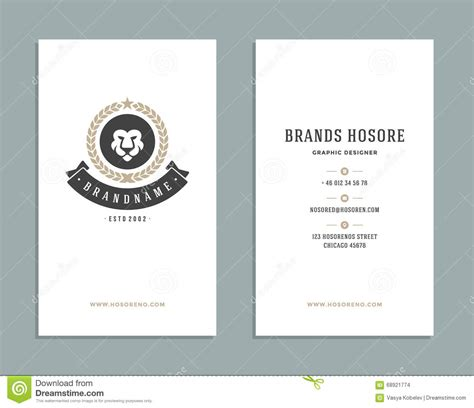 business card template with mascot business card design and retro logo template vector