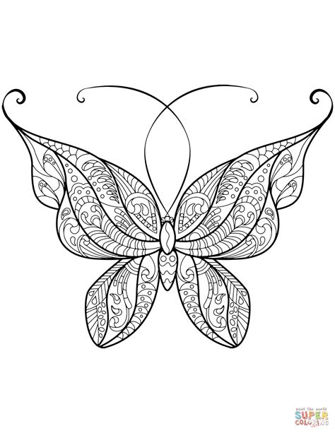 butterflies coloring pages zentangle butterfly coloring page free printable
