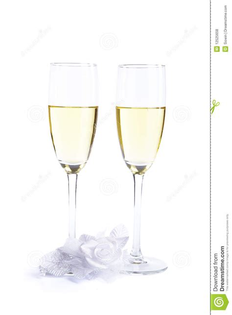 Wedding Glasses Clipart by Two Wine Glasses With Chagne And Wedding Flower Royalty