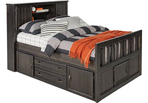 captain s bed creekside charcoal 3 pc full captain s bookcase bed full