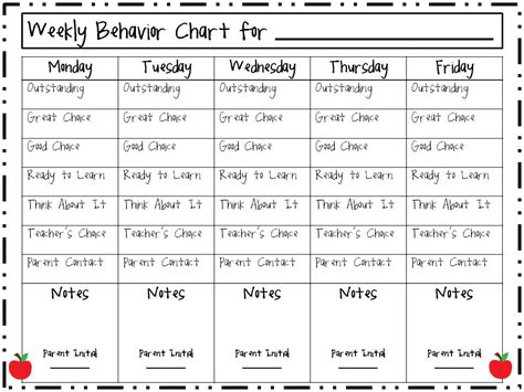 weekly behavior charts new calendar template site