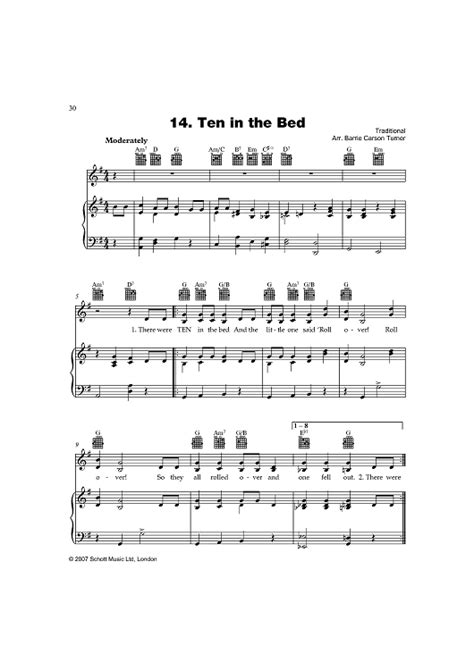ten in the bed lyrics ten in the bed sheet music music for piano and more