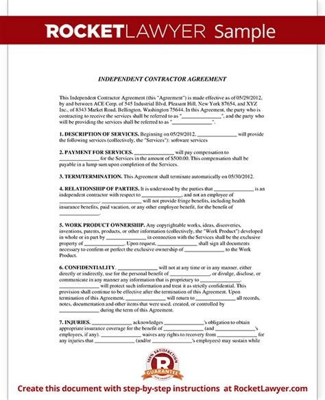 Agreement Letter For Contractor Independent Contractor Agreement Form Template With Sle