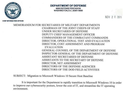 Dod Memorandum Template by Us Dod Hurry Up Windows 10 Deployment Windows Enterprise