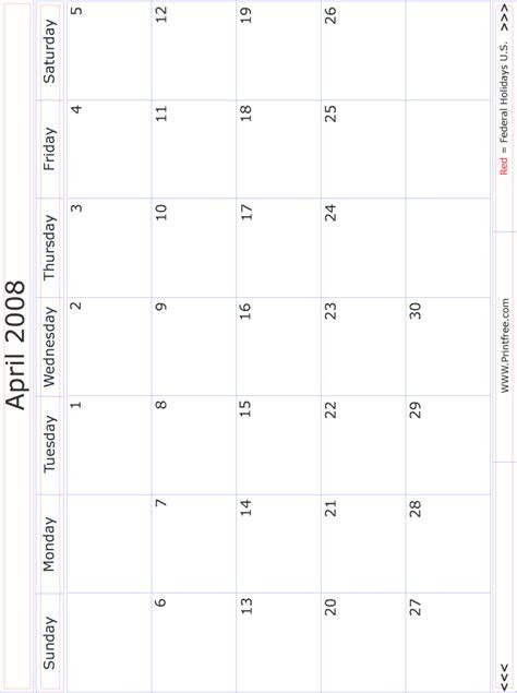 April 2008 Calendar April 2008 Monthly Calendar