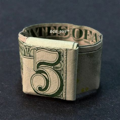 Money Bracelet Origami - ring money origami jewelry made of real dollar bill