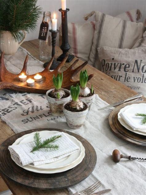 wood christmas table setting ideas