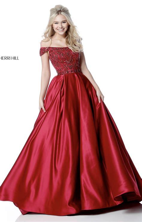 sherri hill    shoulder satin ball gown prom