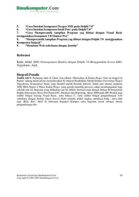 Pemrograman Database Dengan Delphi 7 Menggunakan Access Ado delphi dengan ms access