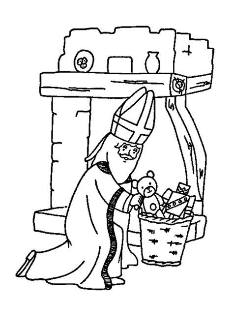 Coloriage saint nicolas cadeaux sur Hugolescargot.com