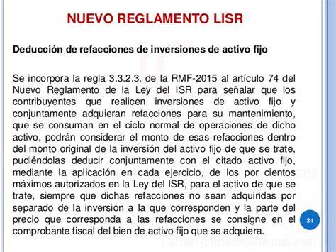 reglamento de la ley isr 2016 reforma fiscal 2016