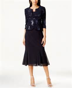 alex evenings sequined a line midi dress and jacket in