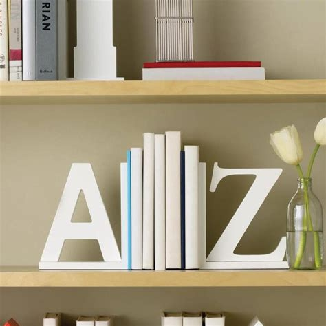 book end white a z book ends by letteroom notonthehighstreet com