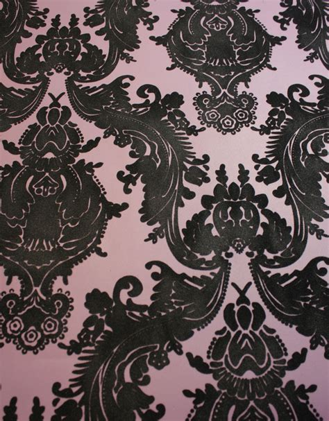 black and white velvet wallpaper heirloom damask velvet flocked wallpaper in plum and black