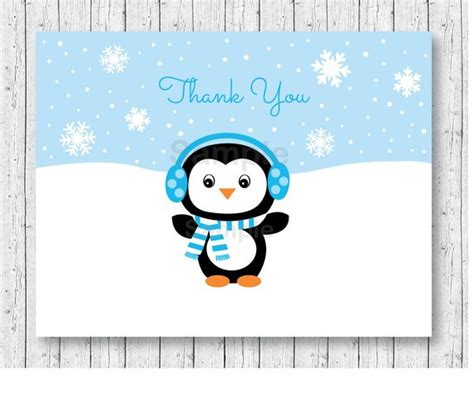 stylish thank you card templates penguin thank you card penguin baby shower winter
