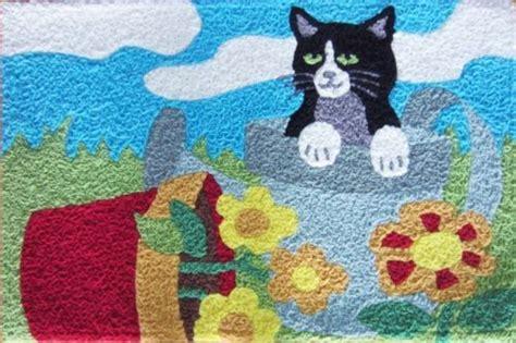 Cat Area Rugs Cat In Planter Jellybean Accent Rug Indoor Outdoor Kitten Flowe