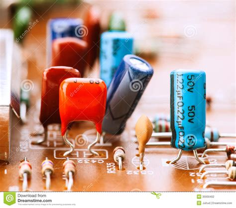 capacitors resistors capacitors resistors and other electronic components stock photography image 35930402
