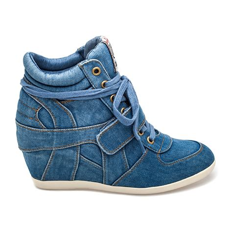 Sneakers Denim ash bowie wedge sneaker light blue denim 360045 ash