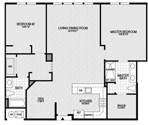 2 bedroom 2 bath with den floor plan