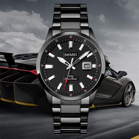 skmei jam tangan analog pria stainless steel