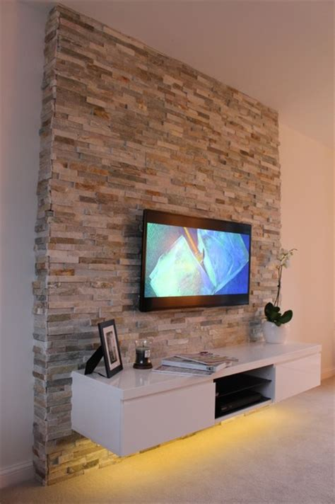 tv on wall in living room split feature tv wall contemporary living room