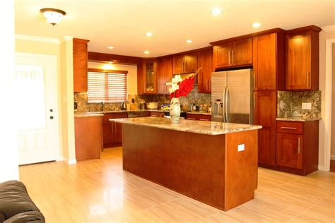 Kitchen Ideas With Cherry Wood Cabinets Furniture Cherry Kitchen Cabinets With Wood Kitchen Island And Light Wooden Flooring Plus