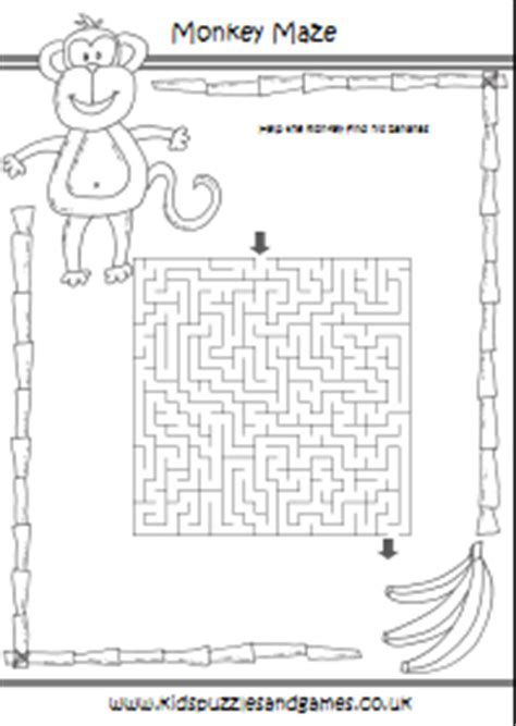 printable monkey maze zoo mazes kids puzzles and games