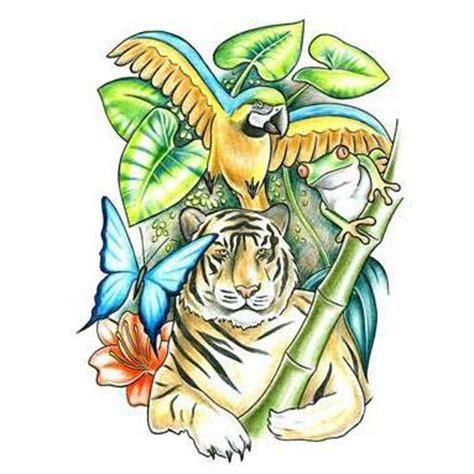 jungle themed tattoo ideas tiger jungle theme tattoo design tattoowoo com