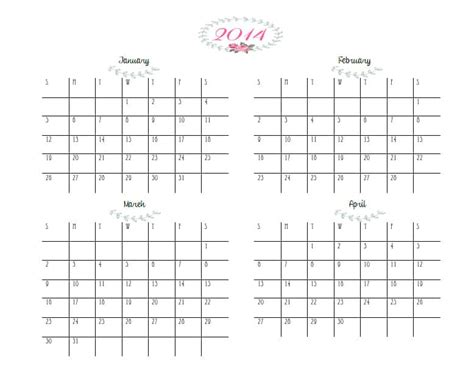 free printable quarterly calendar 2014 calendar template