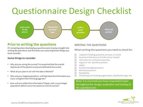 questionnaire design guidelines for establishment surveys questionnaire design checklist health survey solutions