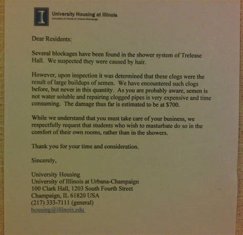 College Warning Letter 25 Letters Warning Students Not To In Showers Huffpost