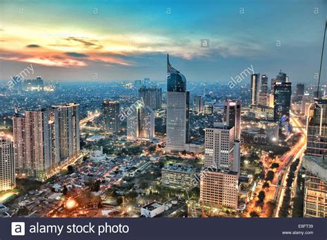 Jakarta City indonesia jakarta view of city during sunset stock photo