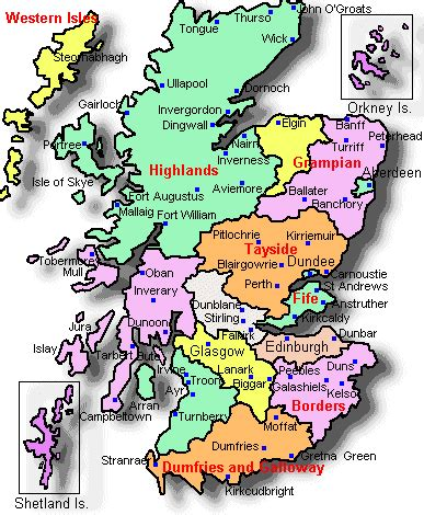 map of scotland and map of scotland country and city