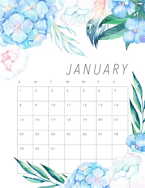 Calendar 2018 January To June Free Printable 2017 Floral Calendar The Cottage Market