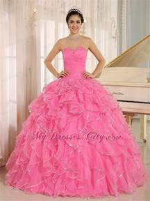beautiful rose pink puffy sweet 15 dress with ruches and