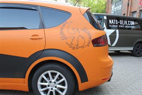 auto folierung schwarz matt seat altea xl in orange matt und schwarz matt nato oliv