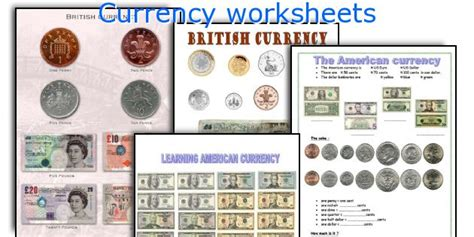 printable english money worksheets english teaching worksheets currency